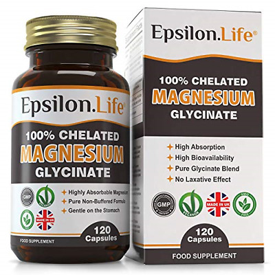 £23.98 • Buy Epsilon Magnesium Glycinate - Pure, 100% Chelated Mag Bisglycinate - 120 Easy To