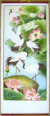 Oriental Chinese Lotus And Cranes Wall Hanging Scroll • 6.50£