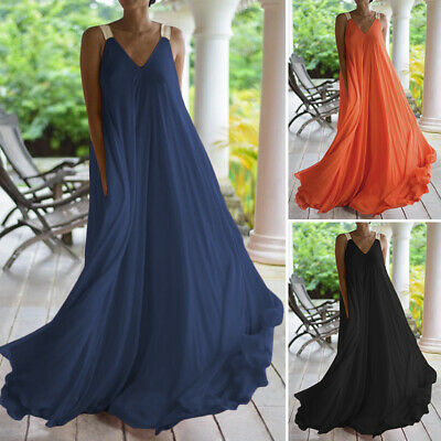AU15.63 • Buy ZANZEA Women Bohemian Strap Cami Dress Long Maxi Sundress Fit Sexy Plus Size