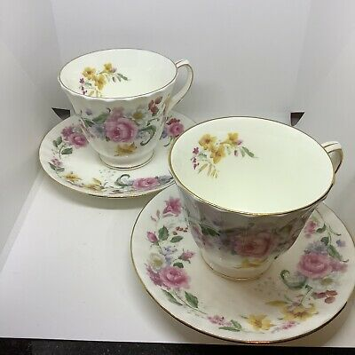Duchess Memories Bone China Tea Cups And Saucers. Set Of Two • 10£