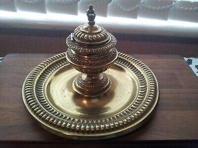 Excellent Rare Vintage Decorative  Brass Inkwell With Lid On Brass Plate • 36.99£