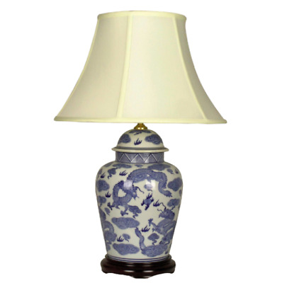 £160 • Buy Oriental Chinese Porcelain Ceramic Blue And White Dragon Table Lamp