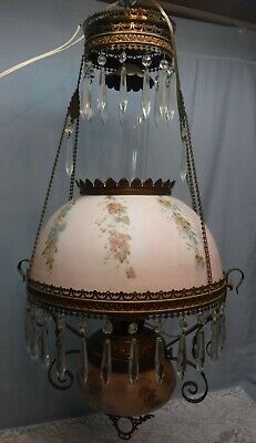 $ CDN444.03 • Buy Antique Vtg GWTW Victorian Electrified Hanging Oil Parlor Library Lamp