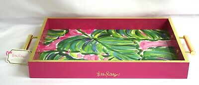 Lilly Pulitzer Hostess Tray Painted Palms Pink Green Floral RARE New Lacquer  • 46.48£