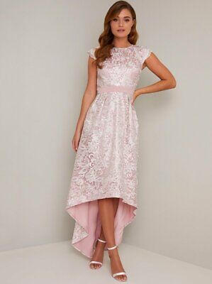 Chi Chi London Dip Hem Crochet Lace All-Over Occasion Dress 12 14 Pink/White • 51.85£