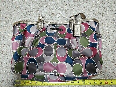 $ CDN62.03 • Buy Coach Handbags Purse Large Used Multicolored Trimmed In Gold