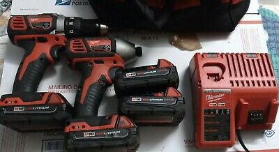 Milwaukee 2656-20 M18 1/2 In. Drill Driver & 2606-20 Impact Combo Set 4 Battery  • 143.37£