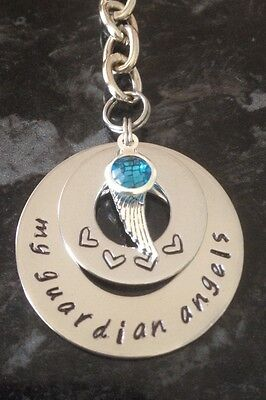 Hand Stamped Personalised Name Stack Necklace Angel Wing Keyring With Birthstone • 13.86£
