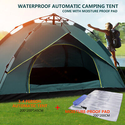 AU85.99 • Buy Waterproof Automatic Camping Tent 3-4 Person Come With Moisture Proof Pad