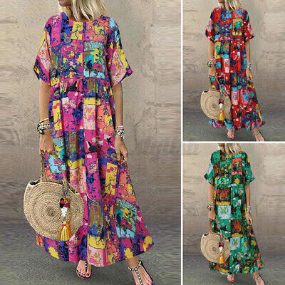 AU12.50 • Buy ZANZEA Women Short Sleeve Floral Sundress Relaxed Fit Loose Plus Size Maxi Dress
