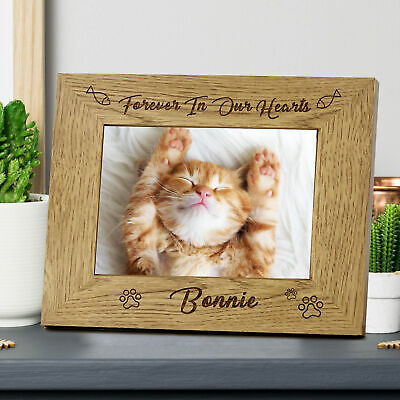 £9.99 • Buy Personalised Wooden Photo Frame Gift For Cat Pet Animals And Our Best Friends