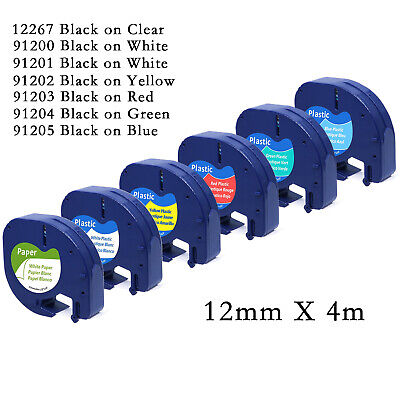 Multipack Plastic Paper Tape 12mm X4m Compatible With DYMO LetraTag Label Makers • 2.99£