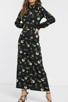 £14.99 • Buy New Warehouse Black Floral Shirred Neck Long Dress - Size 8 To 14