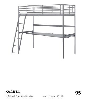 IKEA SVATA Single Bunk Bed With Desk Good Condition . • 95£