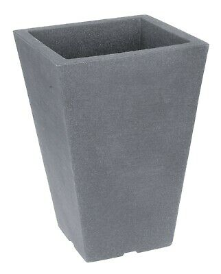 £15.99 • Buy Tall Square Grey Indoor Outdoor Planter Plant Pot 35cm Tall Stone Effect