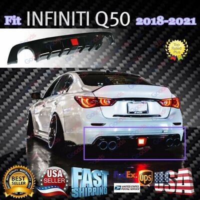 $ CDN164.53 • Buy Painted Gloss Black Rear Diffuser With LED Light For 2018-2021 Infiniti Q50