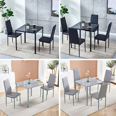 3/5Pcs Square Dining Table + Chairs Set Glass Table For Dining Room Small Space • 144.99£