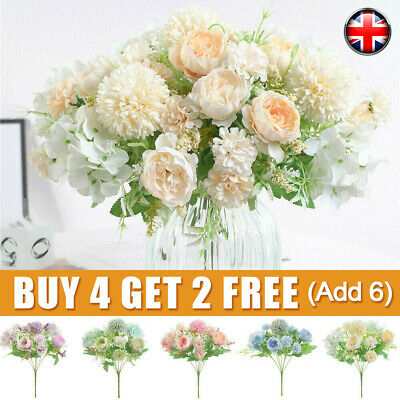 £4.59 • Buy Silk Peony Artificial Fake Flowers Bunch Bouquet Home Wedding Party Garden-Decor