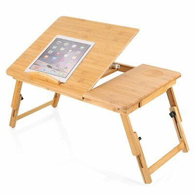 Bamboo Adjustable Portable Laptop Lazy Table Stand Lap Sofa Bed PC Notebook Desk • 17.95£