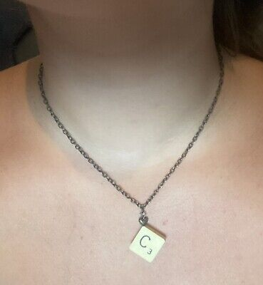 """£2.90 • Buy SCRABBLE NECKLACE """"C"""" Initial Personalised Jewellery C Cream Gold Chain"""