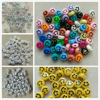£2.99 • Buy 50 - 100 Emoji Smiley Face 10x6mm 15 Colours Yellow Jewellery Crafting UK Seller