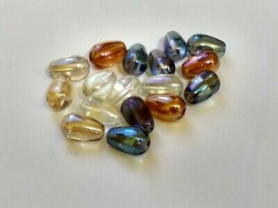 Beads, Glass Teardrop Rainbow Electroplated, Gorgeous Colours, Jewellery Making • 2.50£