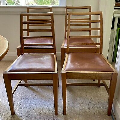 AU595 • Buy 4 X Original Vintage Retro Mid Century Ladder-back Dining Chairs.