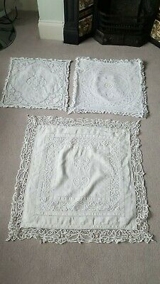 Vintage Luxembourg Lace Cushion Covers X2, Vgc, Freshly Laundered • 20£