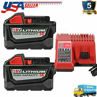 $41.05 • Buy For Milwaukee M18 Li-ion XC 5.0/6.0AH Extend Capacity Battery 48-11-1860 Charger