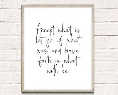Life Inspiration Typography Print Poster Unframed Home Quote Faith Accept • 3.75£