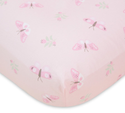 £17.91 • Buy 2 Pcs Baby Nursery Crib Fitted Cot Sheet Set Pink White Butterflies