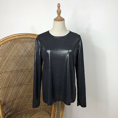 AU27 • Buy Suzanne Gregory Top Made In New Zealand Designer Size 12 M Blue Silver Shimmer