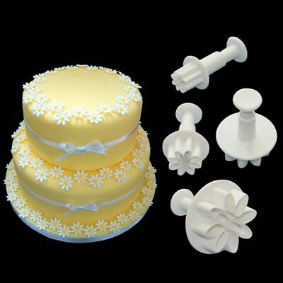 4pcs Flower Icing Cutter Fondant Cake Sugarcraft Decorating Plunger Mold Mould • 3.98£