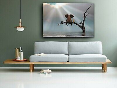 Elephant & Dog Best Friends Sitting On Tree Branch Canvas Print Wall Art Picture • 26.99£