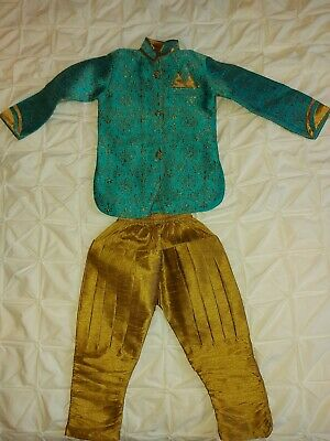 £14.99 • Buy Boys Indian Sherwani Outfit In Turquoise, 2-3 Years