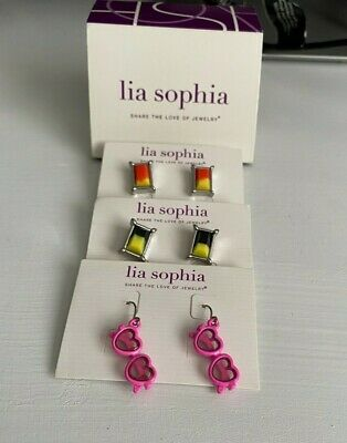 $ CDN21.22 • Buy New Lia Sophia Lot 3 Pairs Earrings For Your Sweety, Signed Sweet Heart Deal!