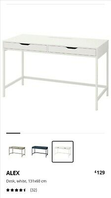 IKEA ALEX Desk 131x60x76 Cm White With 2 Drawers • 75£