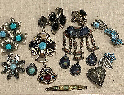 $ CDN151.48 • Buy LOT OF 14 VINTAGE Jewelry: STERLING SILVER BROOCHES Turquoise,Lapis Costume