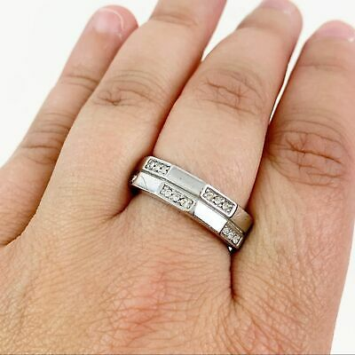 $ CDN4.41 • Buy Lia Sophia Ring Size 9 Silver Toned Cut Crystals Wide Band FLAW