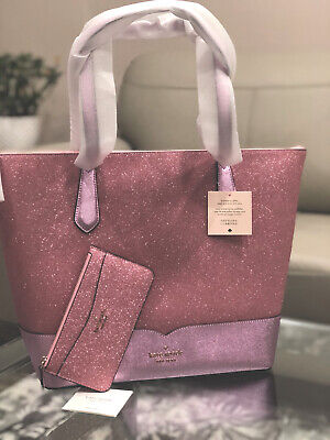 $ CDN189 • Buy Kate Spade Large Lola Glitter Tote Bag Pink Handbag Leather Laptop & Slim Wallet