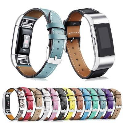 AU12.85 • Buy Strap Classic Wristband Band New Leather For Fitbit Genuine Replacement Charge 2