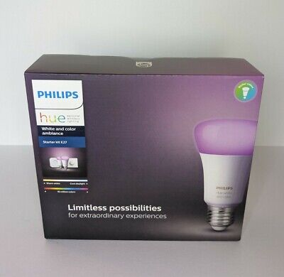 AU153.29 • Buy Philips Hue White And Colour Ambiance E27 Starter Kit | 2 Bulbs And Button New