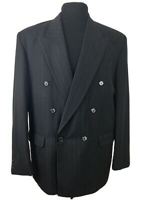 £49 • Buy Horne Brothers Wool Blend Black Pinstripe Suit With Turn-Ups C42R W34 L30.25