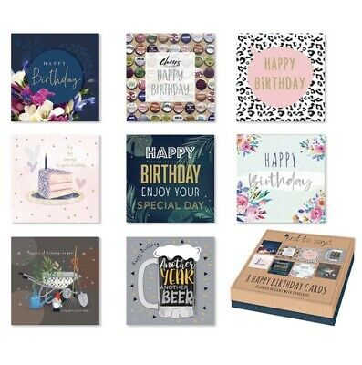 £3.49 • Buy Pack Of 8 Mixed Assorted Happy Birthday Cards Male & Female Greeting Card