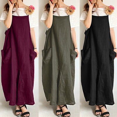 AU16.99 • Buy AU STOCK ZANZEA Women Summer Long Maxi Sundress Cami Dress Bib Pinafores Dress