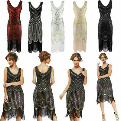 AU26.99 • Buy 1920s Flapper Dress Great Gatsby Charleston Sequins Beaded Fringe Fancy Dress