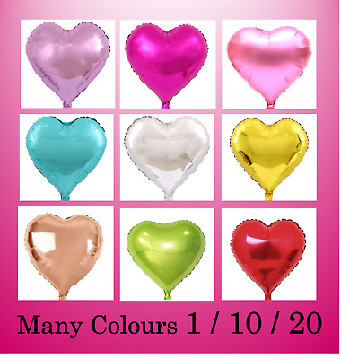AU10.49 • Buy 1/10/20 Love Heart Foil Balloons 18  / 45cm Wedding Birthday Party Decoration