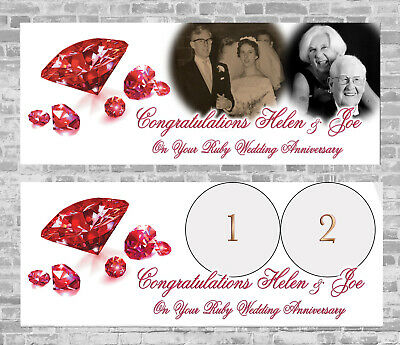 Ruby Wedding Anniversary Personalised Party Banner Decoration 40th 40 Years • 16.99£