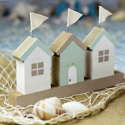 £4.99 • Buy Beach Huts In A Row Decoration Natural And Grey With Flags