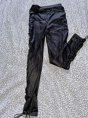 Pvc Wet Look Leather Trousers Lace Up Size 8 • 4.50£